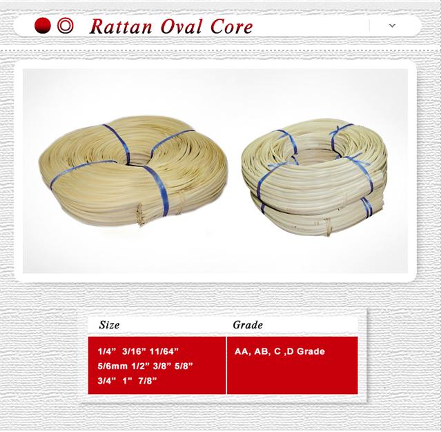 rattan flat oval core